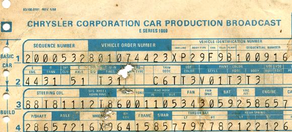 1970 Dodge Build Codes – 1970 Dodge Challenger